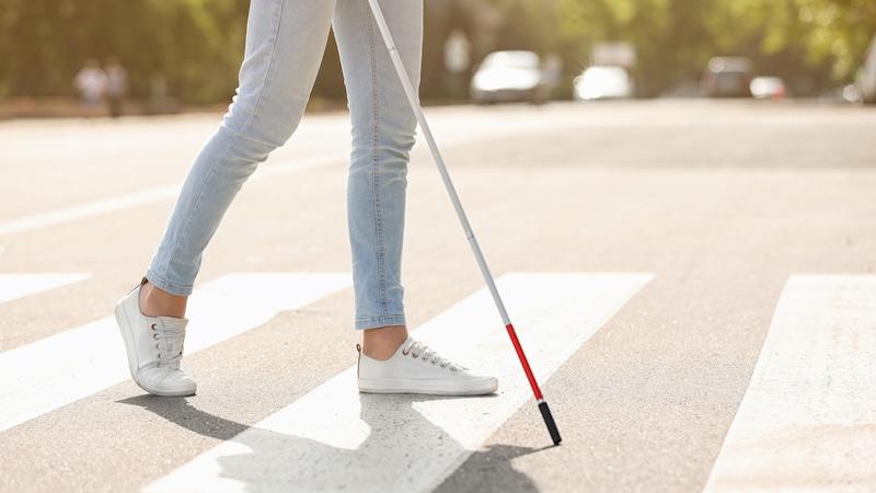 白杖を持って横断歩道を渡る様子