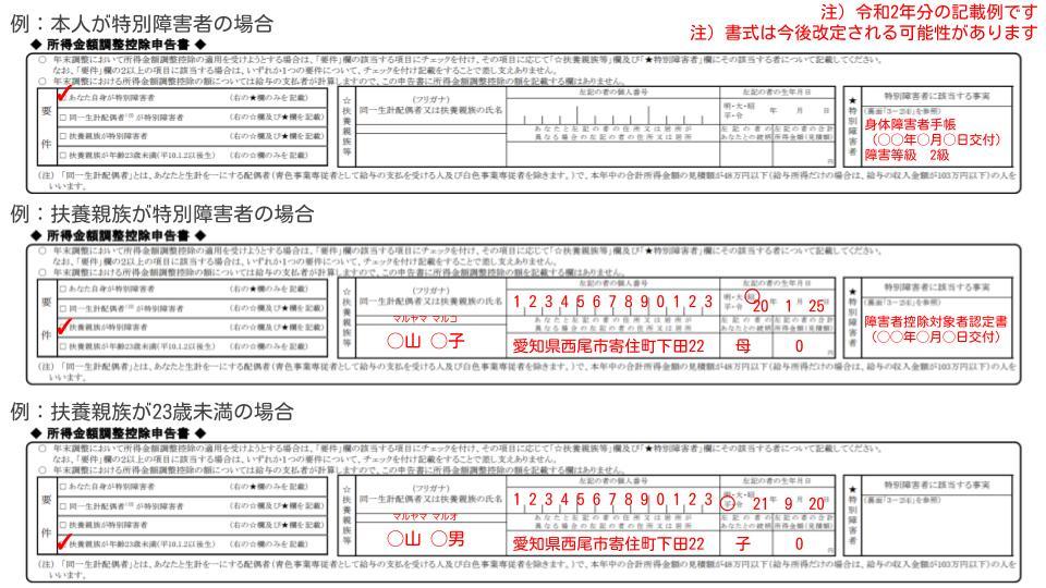 所得金額調整控除申告書の記載例