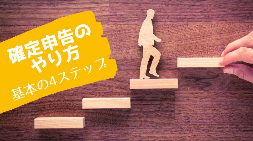 4段の階段を登る人
